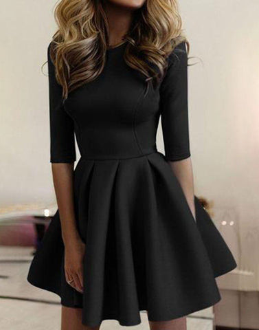 Ruffled Black Skater Dress
