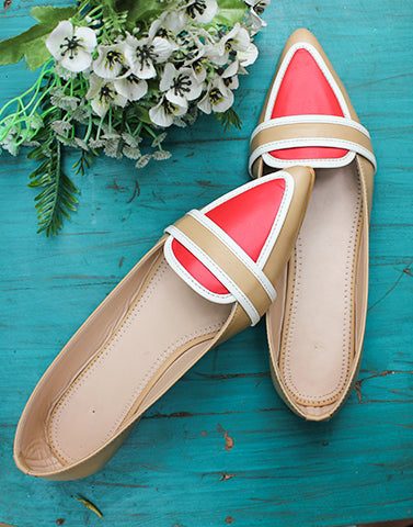 Fierce Red & Beige Flats