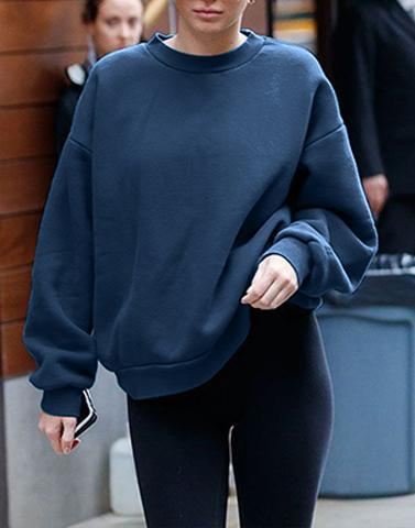 Teal Blue Basic Sweatshirt