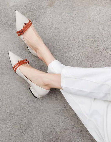 Pointed Toe Raw Rustic Flats