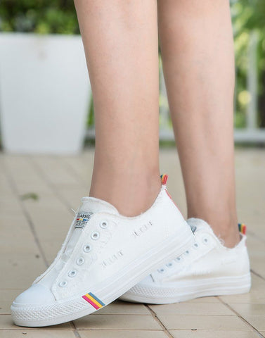 White Non-Lacey Sneakers