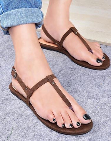 Brown Basic Casual Flats