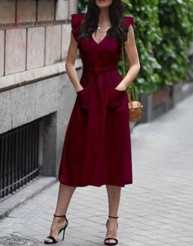 Brunch Beauty Maroon Dress