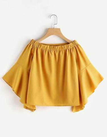 Yellow Off-Shoulder Simple Flared Top