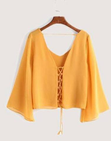 Criss-Cross Yellow Bell Sleeved Top