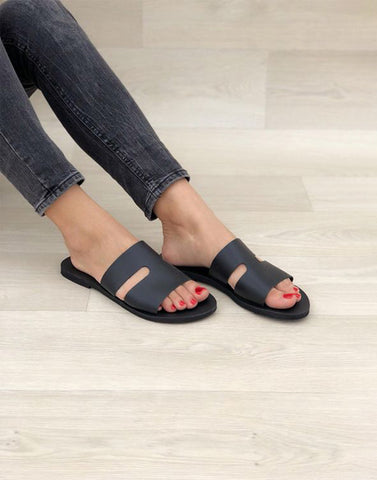 Black Regular Strappy Flats