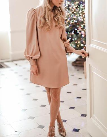 Balloon Sleeves Beige Short Dress