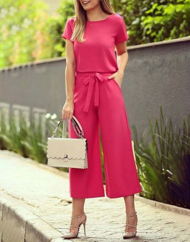 Deep Pink Casual Jumpsuit