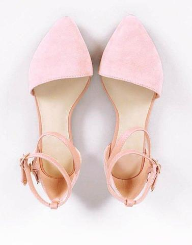 Baby Pink Ankel Strap Flats