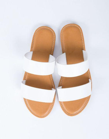 White Double Band Slip On Flats