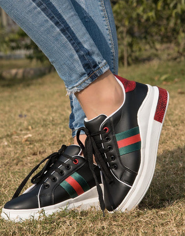 Chic Black Striped Sneakers