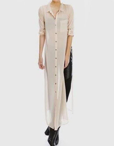 Nude Buttoned Longline Shirt