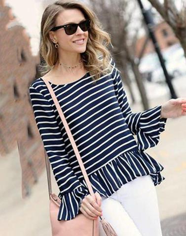 White Strped Blue Ruffled Top