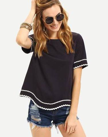 White Lace On Black Stylish Top