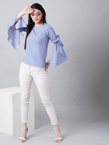 Cute Bow Tie Bell Sleeves Top