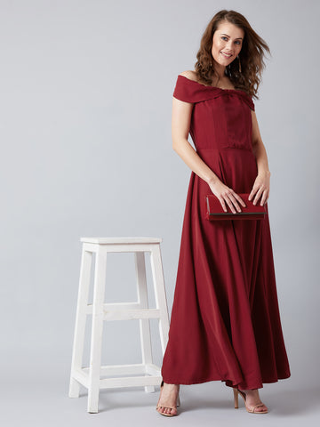 Maroon Off-Shoulder Night Gown