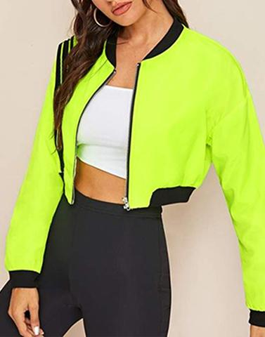 Cropped Zip Through Neon Jacket