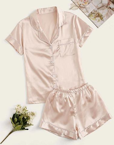 Satin Cuddling Around In Nightwear Set