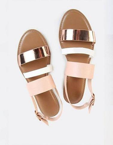 Pink And White Strappy Flats