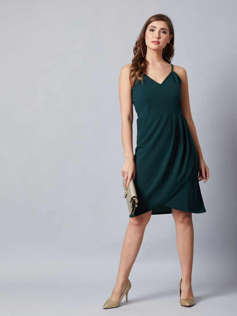 Green Wrapped Party Dress