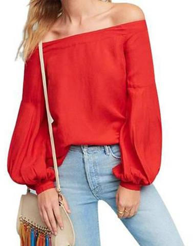 Ballon Sleeved Red Off-Shoulder Top