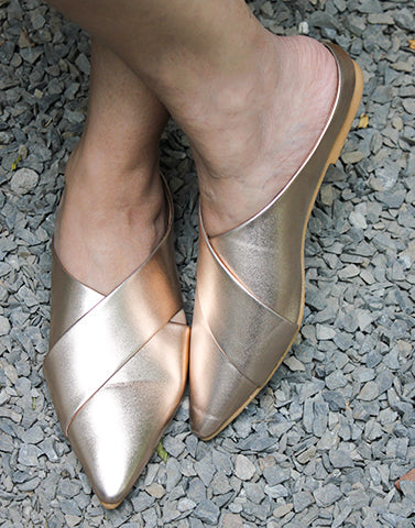 Mysterious Golden Rose Gold Flats