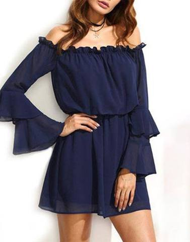 Double Bell Sleeved Off-Shoulder Dress