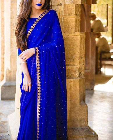 Trishulom Navy Colored Georgette Embroidered Saree