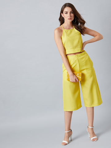 Neon Yellow Top With Plazzo