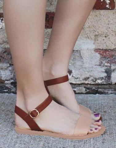 Brownie Brown Buckle Flats