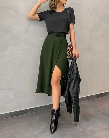 Rayon Green Slit Skirt