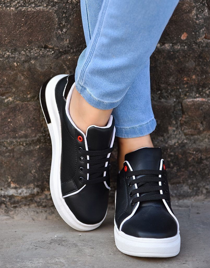 Black Polished Sneakers