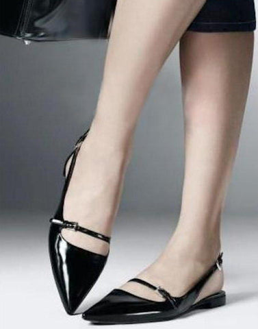 Shiny Black Sling Flats