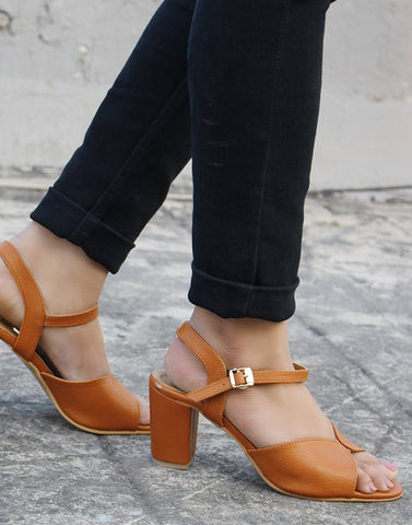 Peach Cross-Strap Sandals