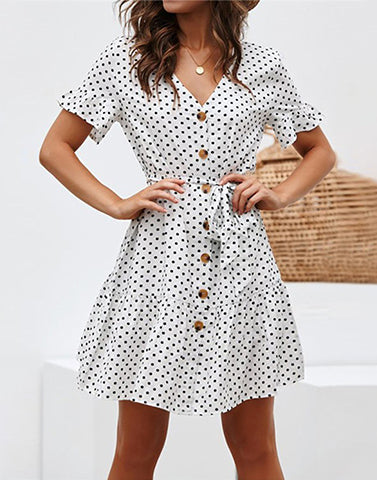 Button Up Evening Skater Dress
