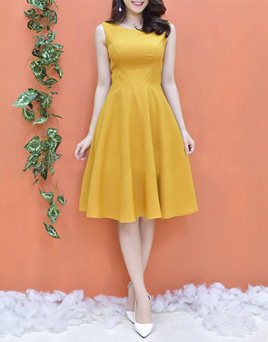 Janice Yellow Crepe Dress