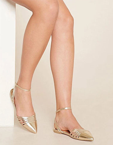 Gold Striped Pointed Ballerina