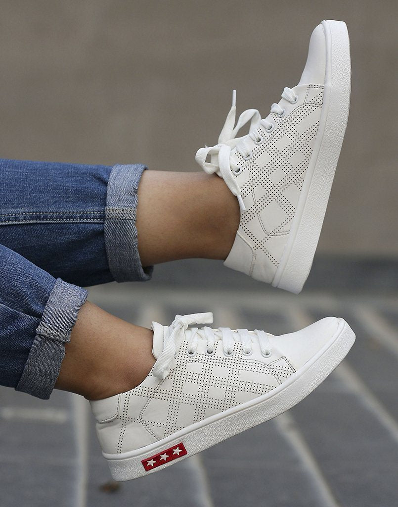 Checked Stylish White Sneakers