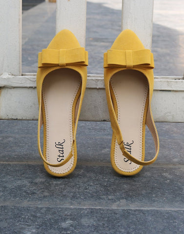 Mustard Pointed Bow Flats