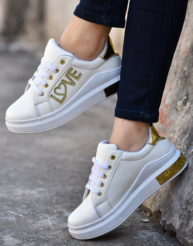 Love With White Gold Sneakers