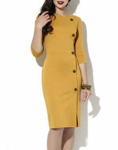 Button Up Mustard Sheath Dress