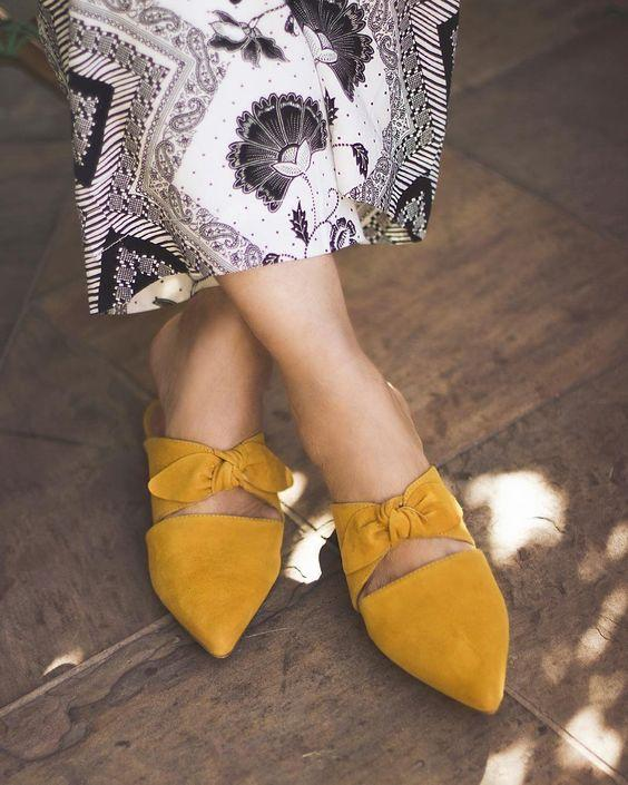 Mustard Pointed Bow Mule