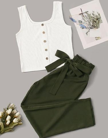 Hutch White & Green Coord Set