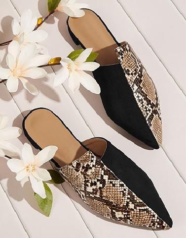 Black Print Block Mules