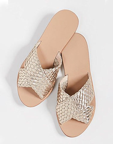 Golden Shiny Cross Strap Flats