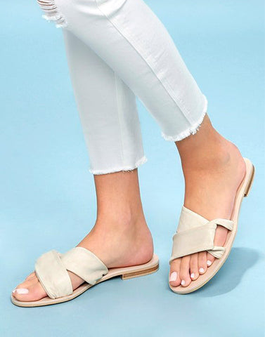 Open Toe Beige Flat Sliders