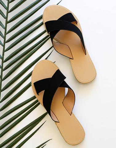 Cross Black Strap Flats