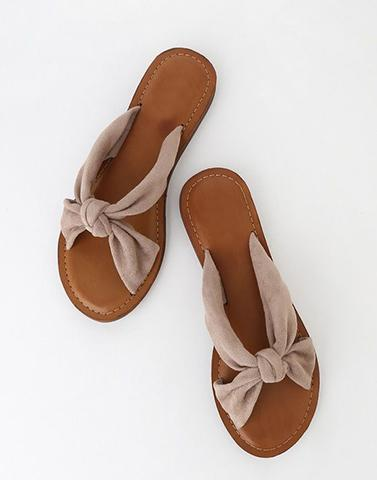 Brown Cute Bow Flats