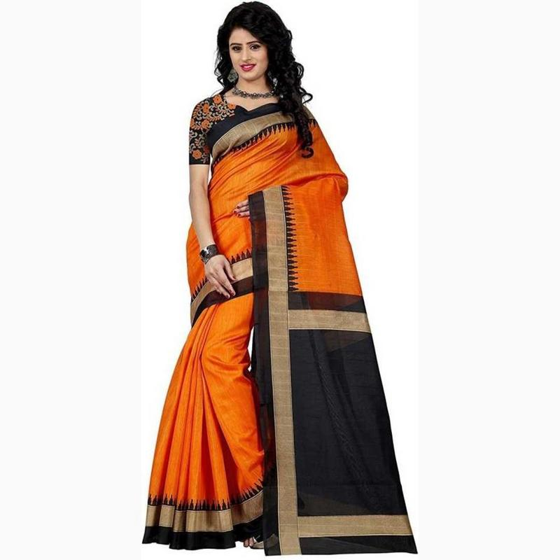 Vora Fashion Orange Color Bhagalpuri Silk Saree With Black Embroidery Blouse Piece