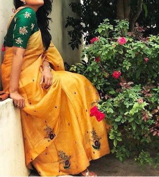 Vora Fashion Yellow Color Chanderi Cotton Embroidery Saree With Banglori Silk Blouse Piece